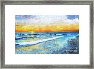 Seascape Sunrise Impressionist Digital Painting 31a Framed Print