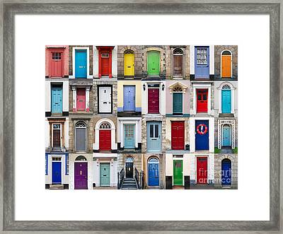 32 Front Doors Horizontal Collage  Framed Print by Richard Thomas