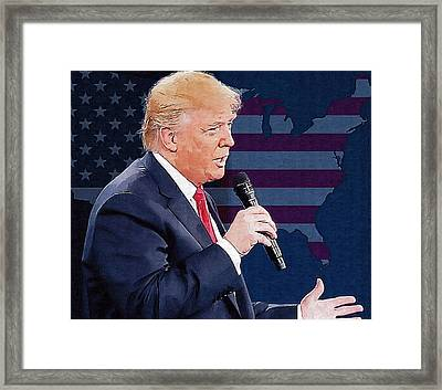 Donald Trump Framed Print by Elena Kosvincheva