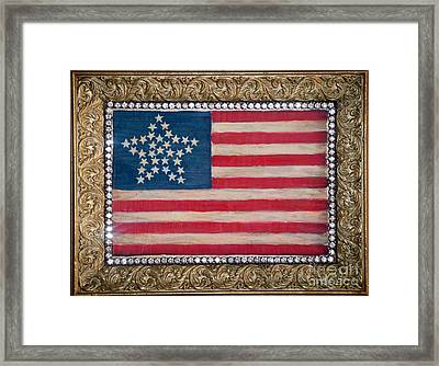 33 Star American Flag. Painting Of Antique Design Framed Print by Sofia Metal Queen