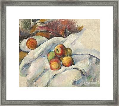 Apples On A Cloth Framed Print