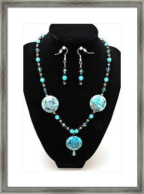 3508 Crazy Lace Agate Necklace And Earrings Framed Print by Teresa Mucha