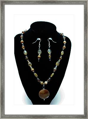 3509 Amber Striped Onyx Set Framed Print by Teresa Mucha