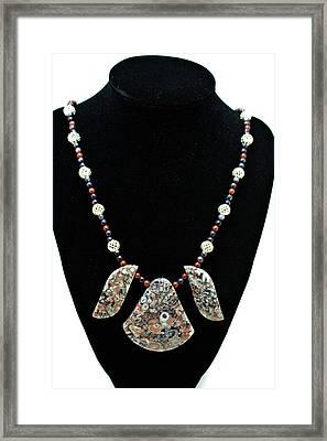 3521 Crinoid Fossil Jasper Necklace Framed Print by Teresa Mucha