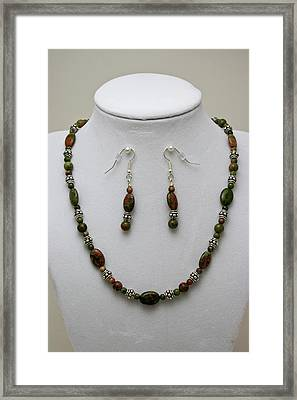 3525 Unakite Necklace And Earring Set Framed Print by Teresa Mucha