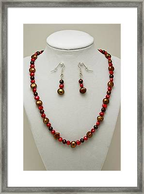 3536 Freshwater Pearl Necklace And Earring Set Framed Print by Teresa Mucha