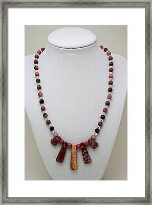 3541 Rhodonite And Jasper Necklace Framed Print by Teresa Mucha