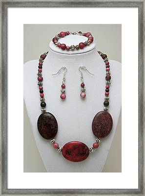 3544 Rhodonite Necklace Bracelet And Earring Set Framed Print by Teresa Mucha