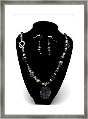 3545 Black Cracked Agate Necklace And Earring Set Framed Print by Teresa Mucha
