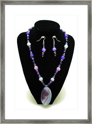 3547 Purple Veined Agate Set Framed Print by Teresa Mucha