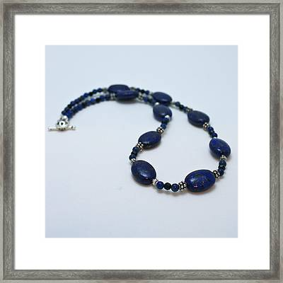 3553 Lapis Lazuli Necklace And Earrings Set Framed Print by Teresa Mucha