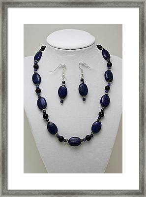 3555 Lapis Lazuli Necklace And Earring Set Framed Print by Teresa Mucha