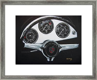 Framed Print featuring the painting 356 Porsche Dash by Richard Le Page