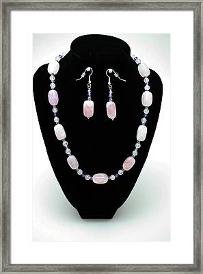 3560 Rose Quartz Necklace And Earrings Set Framed Print by Teresa Mucha