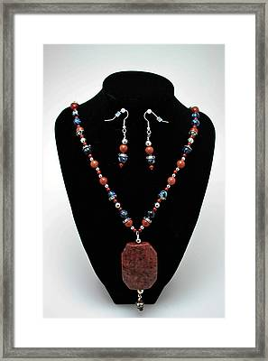 3578 Jasper And Agate Long Necklace And Earrings Set Framed Print by Teresa Mucha