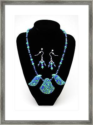 3582 Lapis Lazuli Malachite Necklace And Earring Set Framed Print by Teresa Mucha