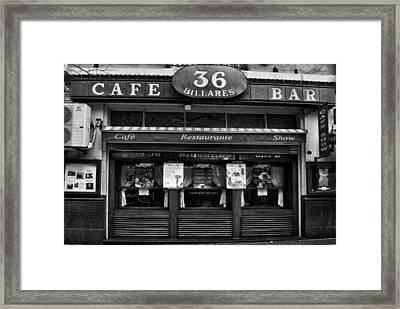 36 Billards Cafe Framed Print by Hans Wolfgang Muller Leg