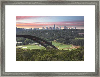 360 Bridge And Downtown Austin 2 Framed Print