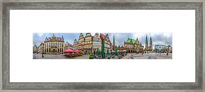 360 Panorama Of Famous Bremen Market Square Framed Print