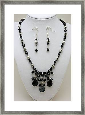 3601 Black Banded Onyx Necklace And Earrings Framed Print by Teresa Mucha