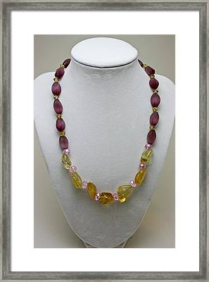 3603 Citrine And Amethyst Cats Eye Necklace Framed Print by Teresa Mucha