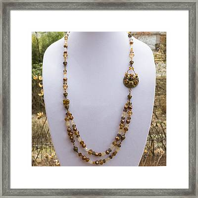 3615 Long Pearl Crystal And Citrine Necklace Featuring Vintage Brass Brooch  Framed Print by Teresa Mucha