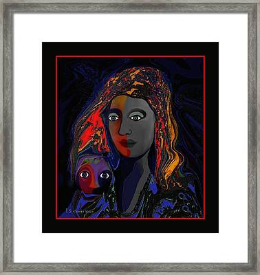 Framed Print featuring the digital art 381- Child Keep Your Mouth Shut 2017 by Irmgard Schoendorf Welch