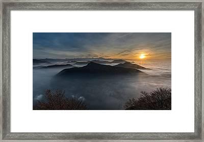 382585 Landscape Photography Nature Mountains Sunset Mist Sky Sun Rays Shrubs City Swiss Alps Framed Print