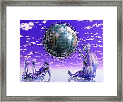 3d Aliens With Caged Earth Framed Print
