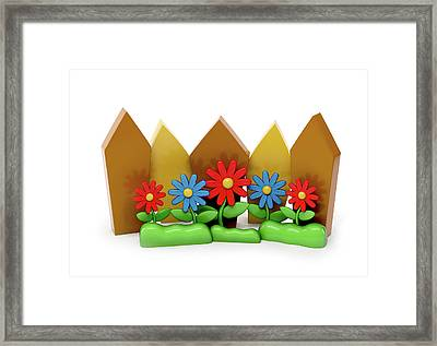 3d Cartoon Fence With Garden Flowers Framed Print