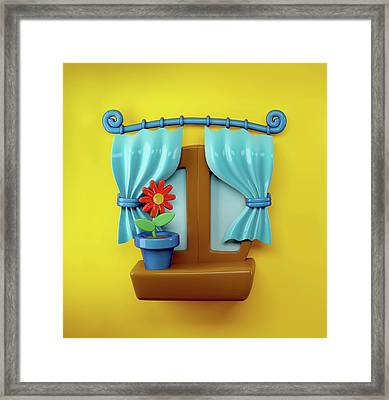 3d Cartoon Home Window Framed Print