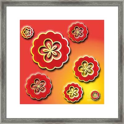 3d Digital Flowers Framed Print