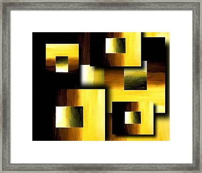 3d Golden Squares Framed Print by Teo Alfonso