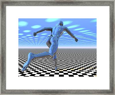 3d Runner Framed Print