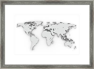 3d Silver World Map Framed Print by Chen Hanquan