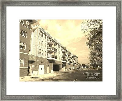 3rd Street Columbus Indiana - Sepia Framed Print