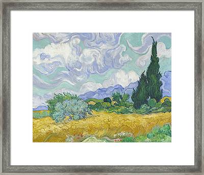 A Wheatfield, With Cypresses  Framed Print