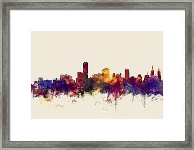 Adelaide Australia Skyline Framed Print by Michael Tompsett
