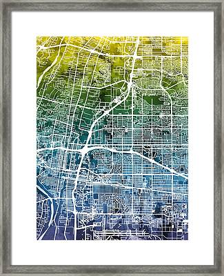 Albuquerque New Mexico City Street Map Framed Print by Michael Tompsett
