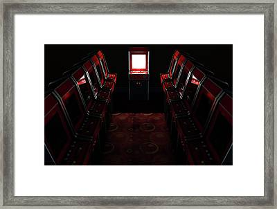 Arcade Aisle With One Illuminated  Framed Print
