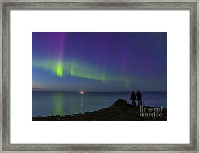 Aurora Borealis Over Iceland Shoreline Framed Print by Babak Tafreshi