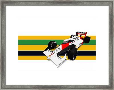 Ayrton Senna - Mclaren Honda Mp4/4 Framed Print by Jeremy Owen
