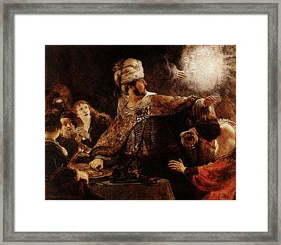 Belshazzars Feast  Framed Print by Rembrandt