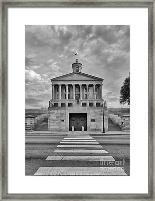 Black And White Photography Print Of The State Capital Building Of Nashville Tennessee At Sunrise  Framed Print