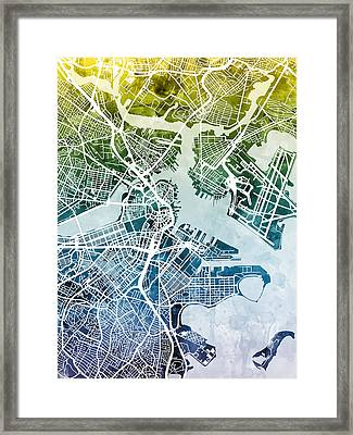 Boston Massachusetts Street Map Framed Print by Michael Tompsett
