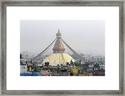 Boudhanath Stupa In Kathmandu Framed Print