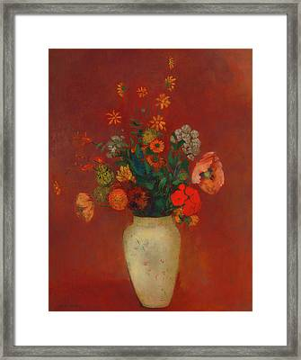 Framed Print featuring the painting Bouquet In A Chinese Vase by Odilon Redon