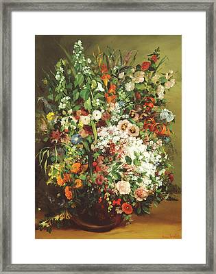 Bouquet Of Flowers In A Vase Framed Print by Gustave Courbet