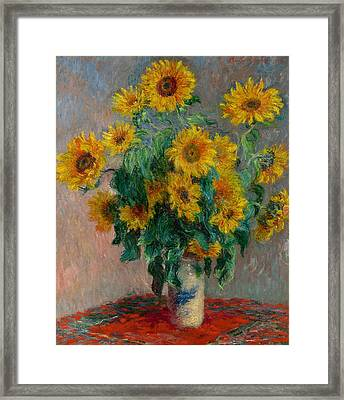 Bouquet Of Sunflowers Framed Print by Claude Monet