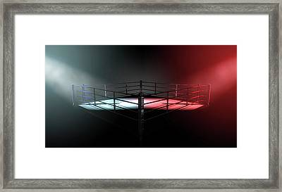 Boxing Ring Opposing Corners Framed Print